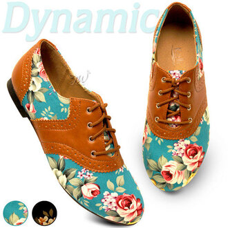 shoes loafers flat flats floral flowers boot brown vintage