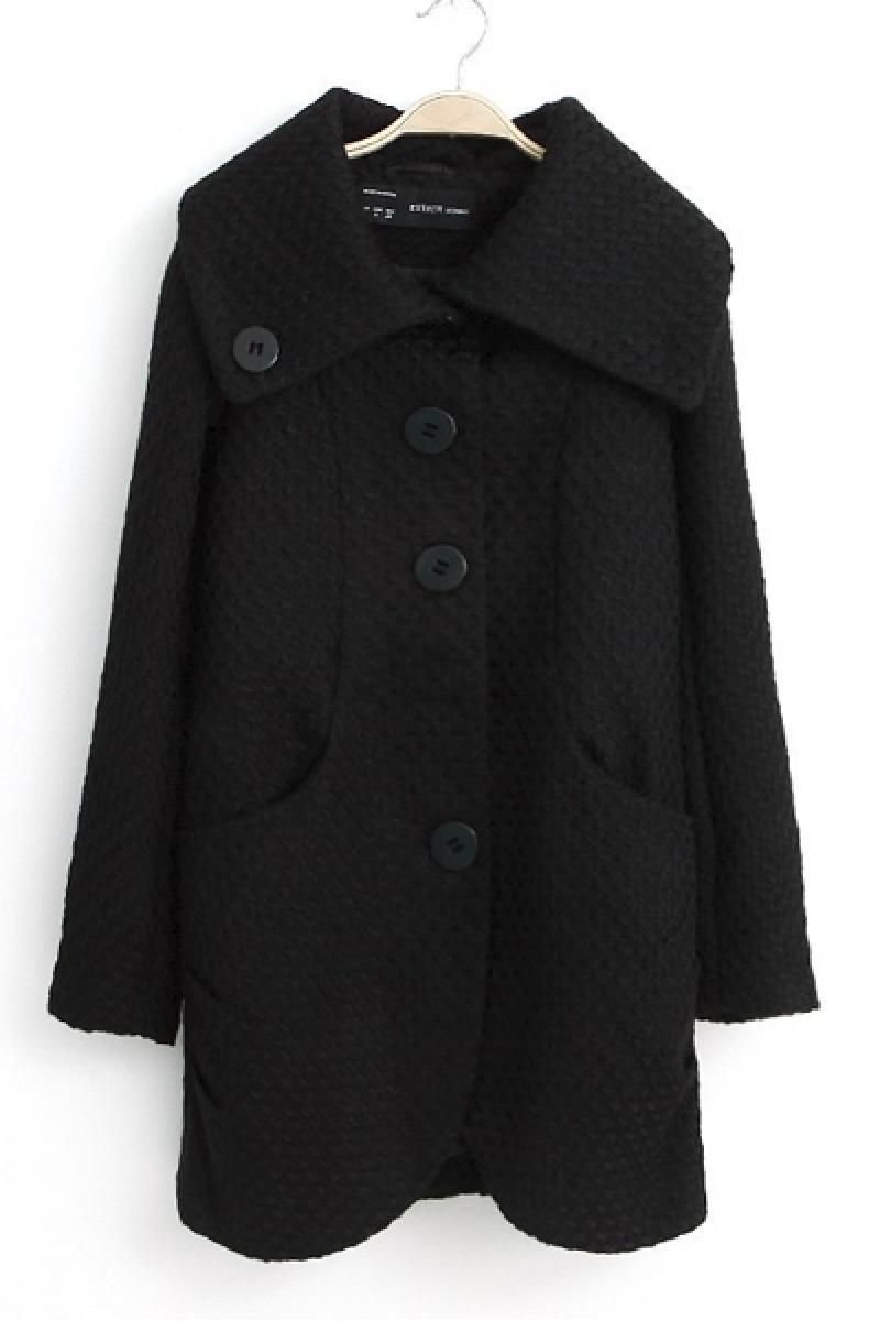 Slim Long Section Large Lapel Woolen Cashmere Windbreaker Jacket,Cheap in Wendybox.com