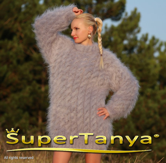 Thick hand knitted gray mohair sweater with cables by supertanya