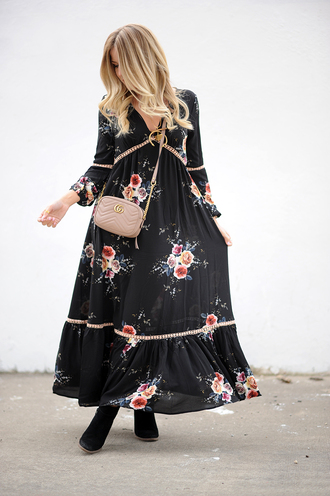 blonde bedhead blogger dress jewels bag shoes maxi dress gucci bag gucci boots