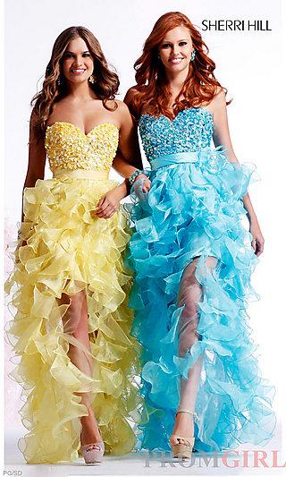 Sherri Hill Designer Strapless Homecoming Dresses- PromGirl