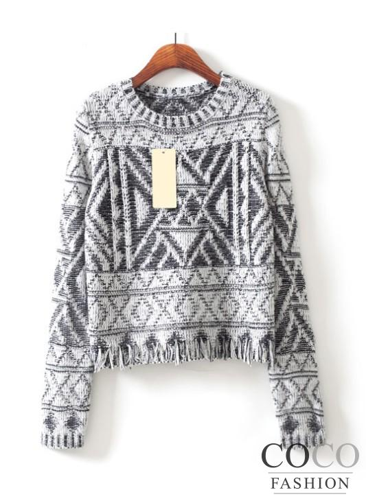 Grey Fashionable Aztec Pattern Cute Fringes Winter 2014 Sweater