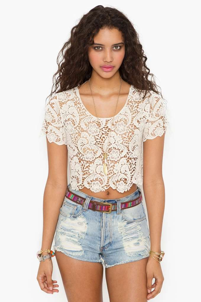 Crochet Crop Top - Cream in  Clothes at Nasty Gal