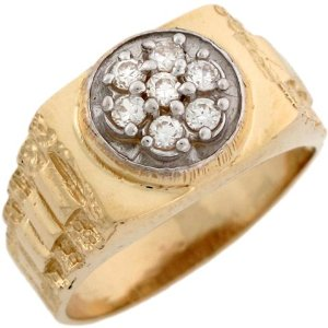Amazon.com: 14k Two Toned Real Gold White CZ Cluster Rolex Inspired Band Ring: Jewelry