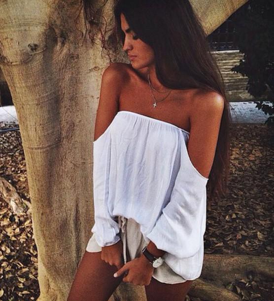 blouse white bandeau shirt