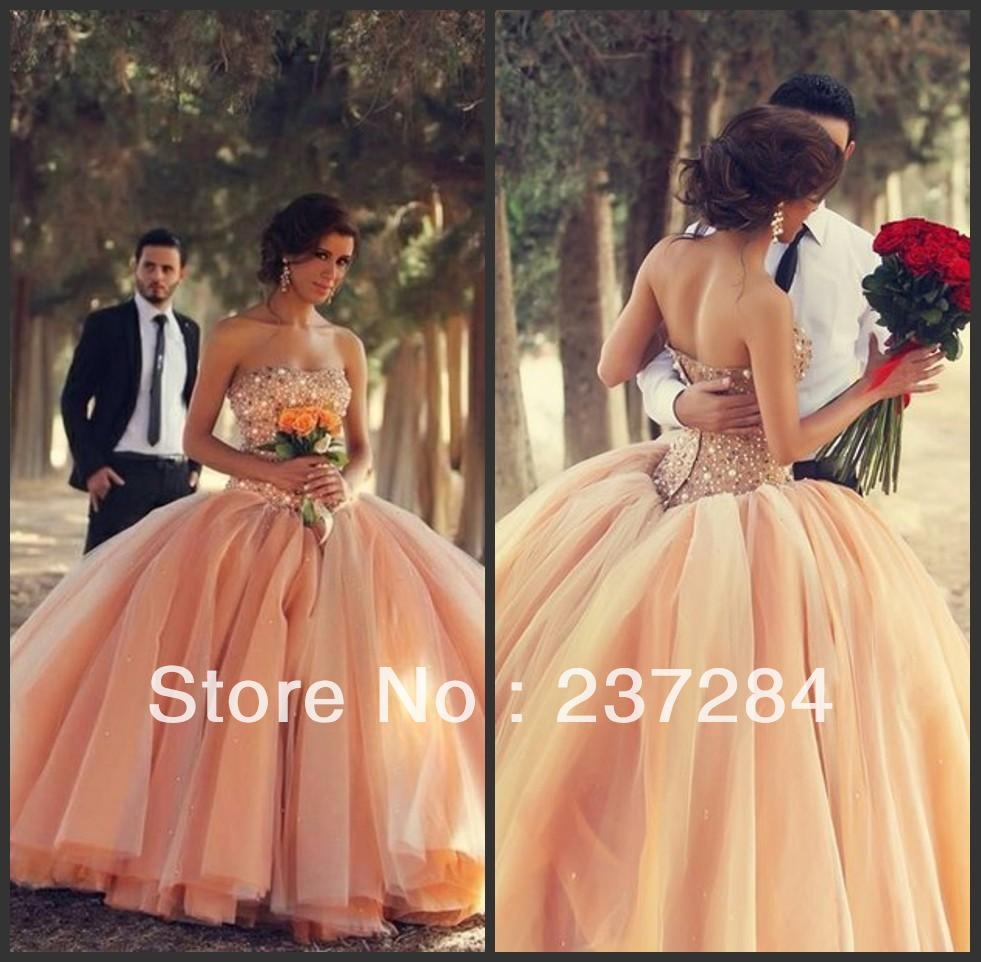 Wholesale   2014 New Sexy Sweetheart Organza Ball Gown Wedding Dresses Beaded Crystals Top Bridal Gown BO3000-in Wedding Dresses from Apparel & Accessories on Aliexpress.com