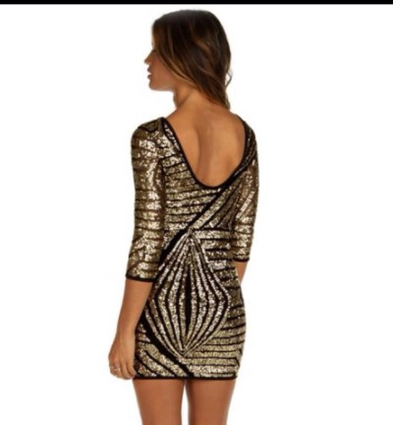 dress gold geometric sequin party dress