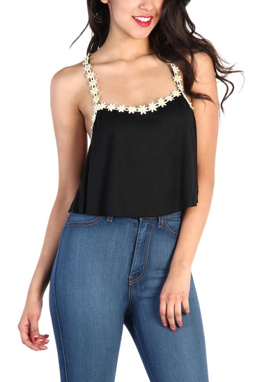 OMG Daisy Strap Tank Top - Black