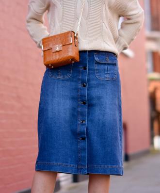 bag tumblr brown bag boxed bag chain bag skirt midi skirt denim skirt button up button up denim skirt sweater nude sweater
