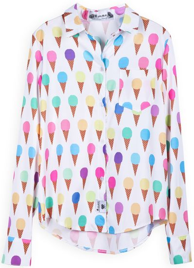 White Long Sleeve Ice Cream Print Blouse