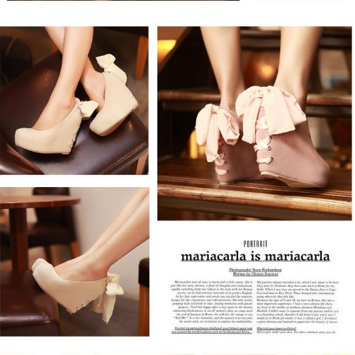 US Sizes Fashion Wedding Platform Lady Shoes Wedge Lace BOW Girls Free Ship S92 | eBay