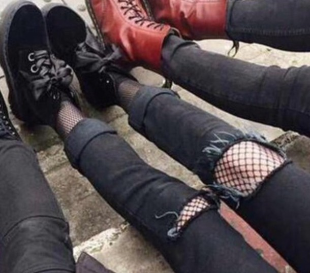 jeans black ripped jeans fishnet tights suede shoes