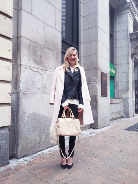 cocorosa blogger coat handbag jacket jeans sweater shoes bag