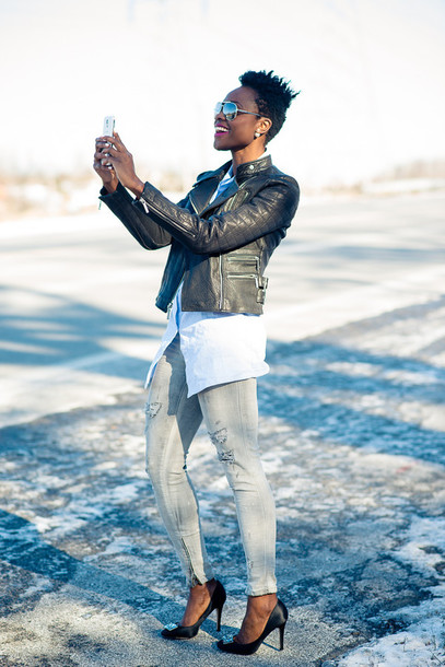 skinny hipster blogger grey jeans leather jacket make-up jewels top jacket jeans shoes