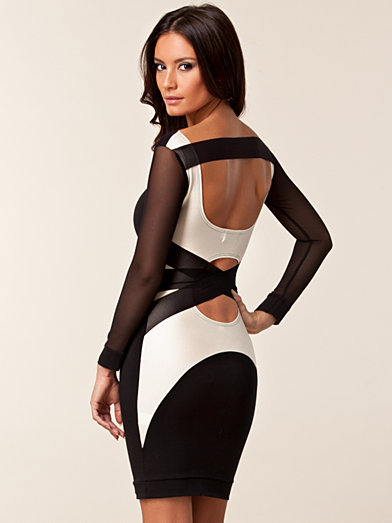Mesh Long Sleeve Strap Dress - Quontum - Black/White - Party Dresses - Clothing - Women - Nelly.com