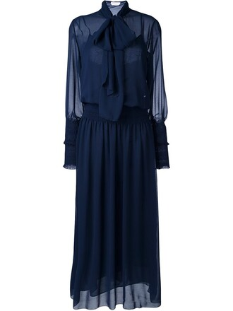 dress maxi dress bow maxi women blue