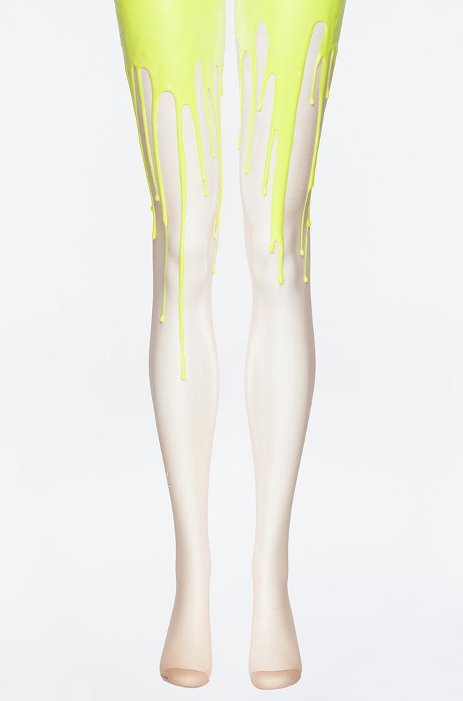 Neon Yellow Melting Tights — URB