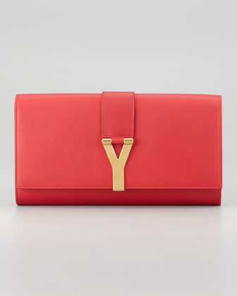Saint Laurent Y Ligne Clutch Bag, Red - Neiman Marcus