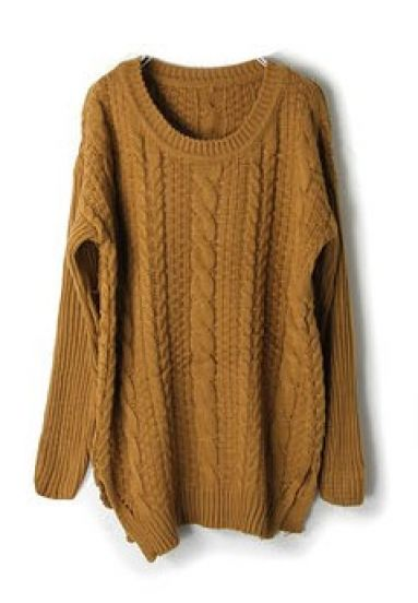 Camel Long Sleeve Cable Chunky Split Sweater - Sheinside.com