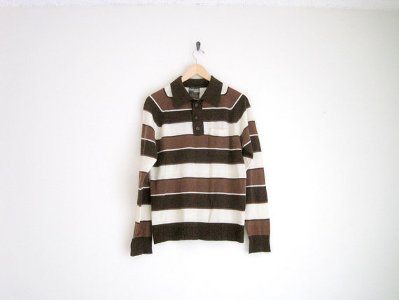 vintage 70s preppy brown rugby striped shirt with by helloambition