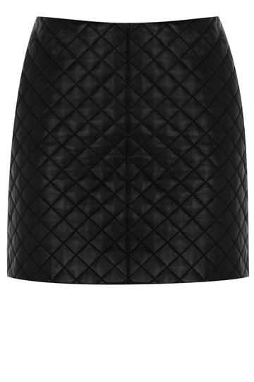 Quilted Leather Skirt | Black | Oasis Stores