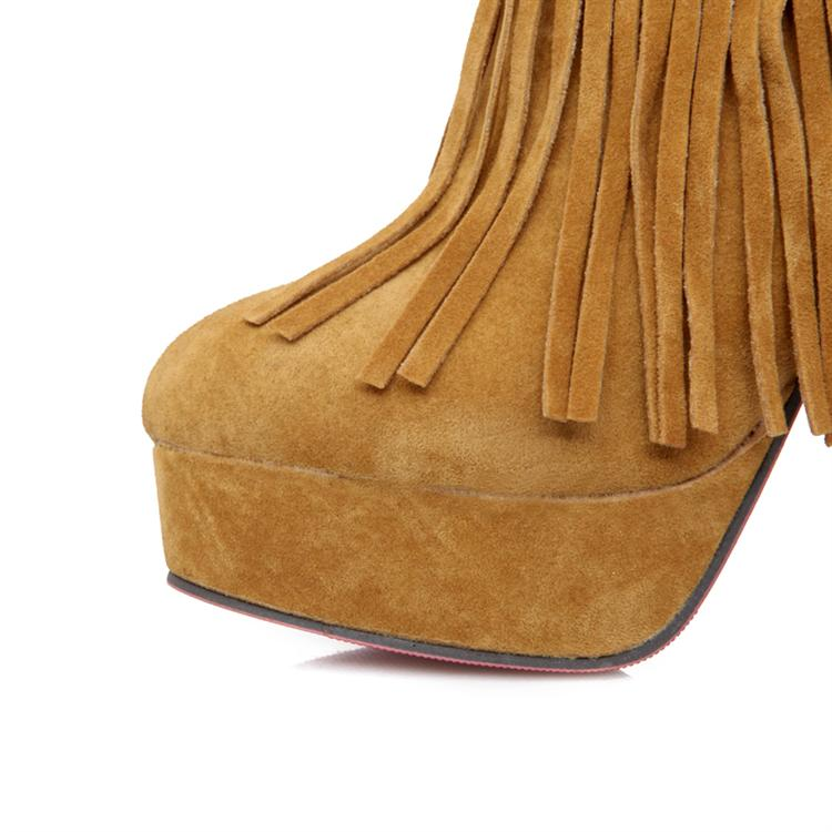 Free Shipping Spring Autumn Fashion Nubuck Leather High Thin Heel Double Tassels Women Ankle Boots Nightclub Sexy Red Lady Pumps-inBoots from Shoes on Aliexpress.com