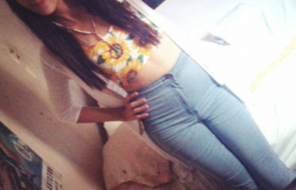 jeans high waisted jeans crop tops sunflower blazer summer outfits fashion top