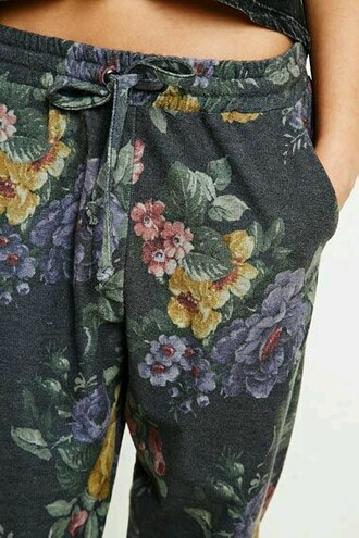 pants grey sweatpants lounge pants floral flowers yellow pink printed pants
