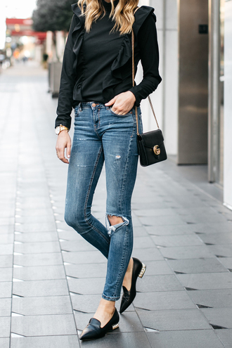 fashionjackson blogger top jeans shoes bag sunglasses jewels gucci bag black blouse loafers