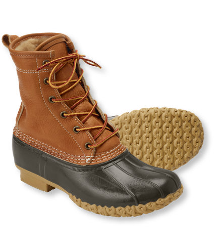 Women's Tumbled-Leather L.L.Bean Boots, 8 and quot; Shearling-Lined: Bean Boots | Free Shipping at L.L.Bean