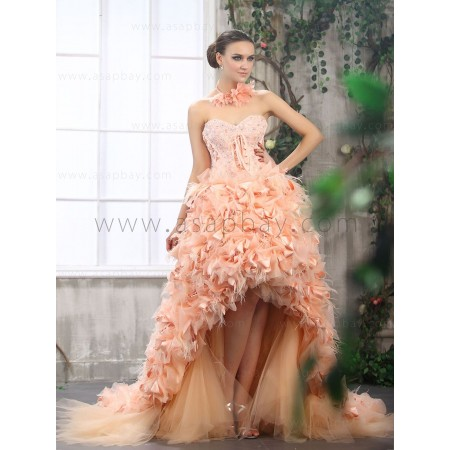 Unique and luxury  feather sweetheart train high low wedding dress beading flowers ribbons B20845 for $686.00