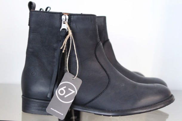 boots leather zip tassel sixtyseven shoes black