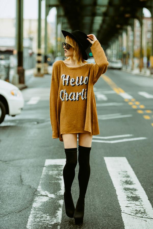 i hate blonde sweater hat jewels
