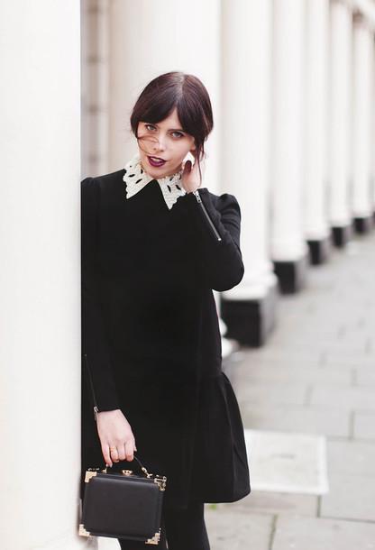 wish wish wish blogger collared dress black and white dress mini bag