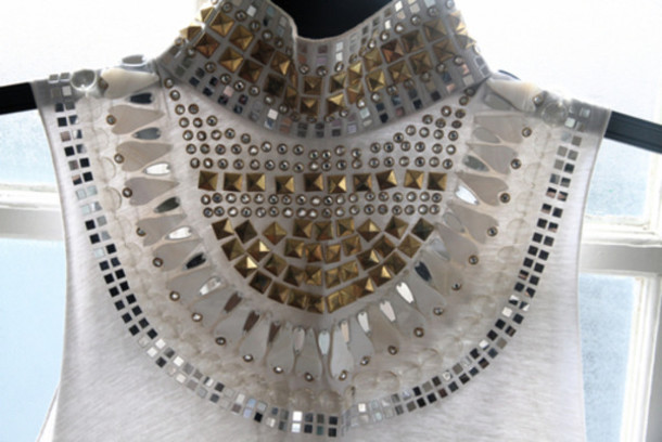 studs sequins white tank top