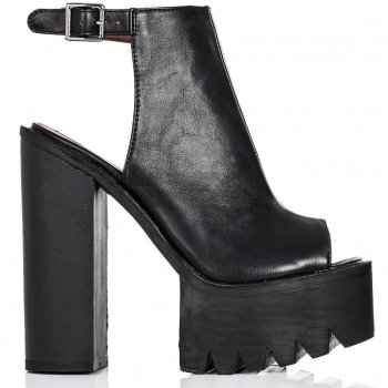Buy THUNDER Block Heel Tractor Tread Mule Shoes Black Leather Style Online