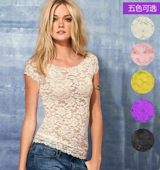 Pazae double layer lace low collar breathable elastic lace short sleeve slim female t shirt hm5 basic shirt-inT-Shirts from Apparel & Accessories on Aliexpress.com
