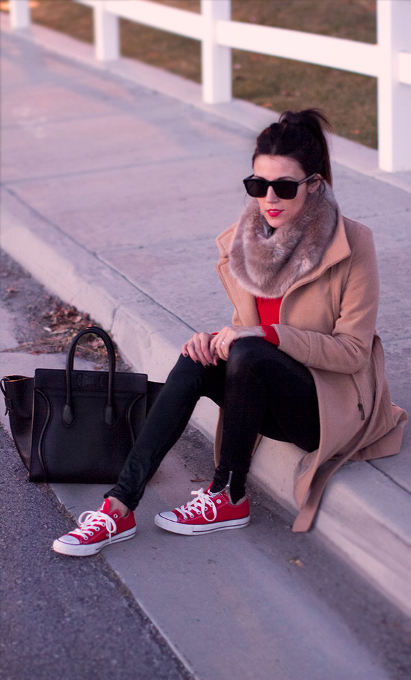 hello fashion coat sweater pants shoes sunglasses scarf red converse converse red sneakers sneakers low top sneakers black leather pants leather pants black pants camel coat black sunglasses bag black bag handbag red top top