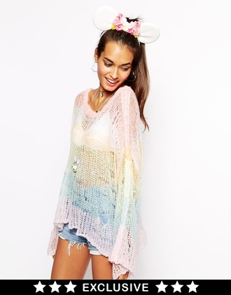 shirt clothes pastel rainbow asos kaftan open knit sweater fashion style festival holidays summer summer outfits beach cover up sweater