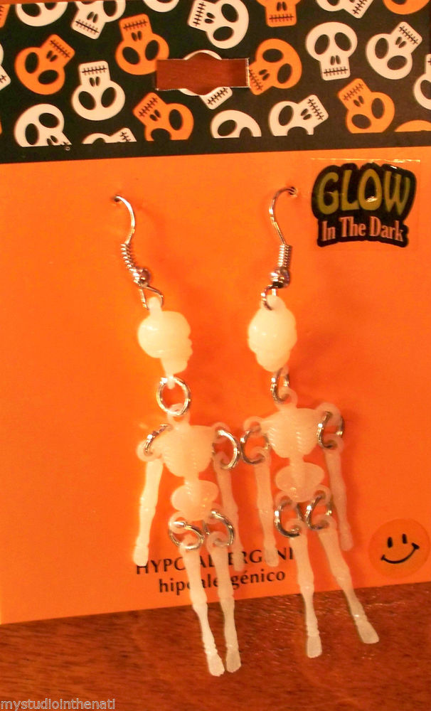 "Skeleton Dangle 3 1 8"" Earrings Glow in Dark Skull Bones Gothic Punk Halloween 