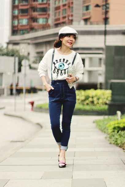 mochaccinoland blogger sweater jeans beret loafers suspenders bag shoes