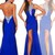 Luxury Royal Blue Chiffon Halter Dress Mermaid Evening Pageant Party Prom Gown | eBay