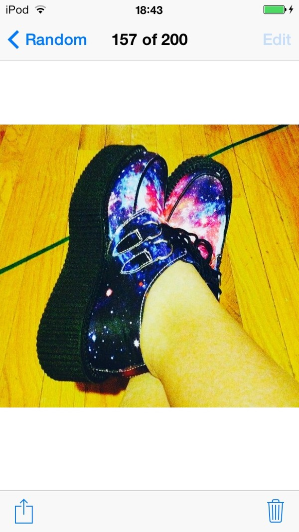 shoes creepers galaxy print black