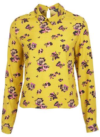 Long Sleeve Floral Collar Top - Miss Selfridge