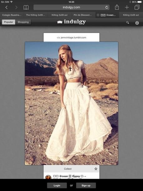 dress hippie white two-piece