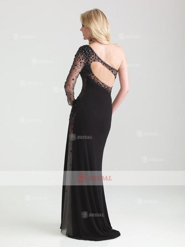 Sheath/Column One-Shoulder Backless Floor-Length Chiffon Long Sleeves Holiday Dresses