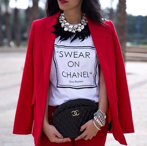 t-shirt jewels bag classy smart pearl red t-shirt