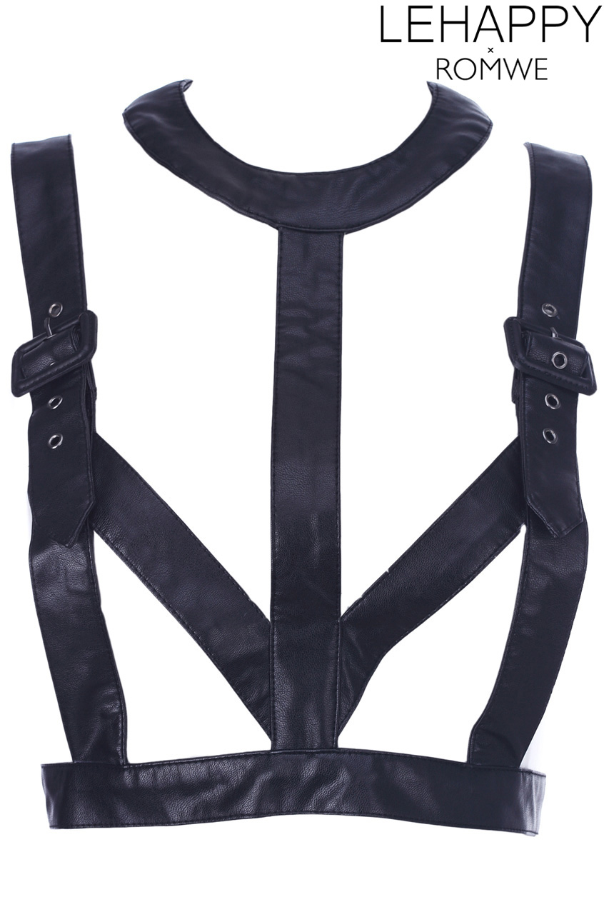 ROMWE   Black Fake Leather Strap Top, The Latest Street Fashion