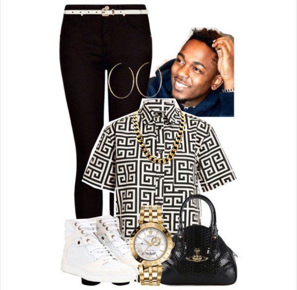 shirt link necklace watch kendrick lamar jeans sneakers fendi bag shoes jewels menswear jacket