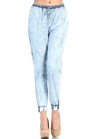 LoveMelrose.com From Harry & Molly | Acid Wash Track Pants - Blue